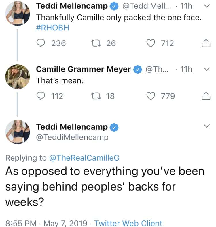 RHOBH Teddi Mellencamp Called Mean By Camille Grammer On Twitter