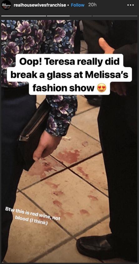 RHONJ Teresa Giudice Breaks Glass At Melissa Gorga Fashion Show