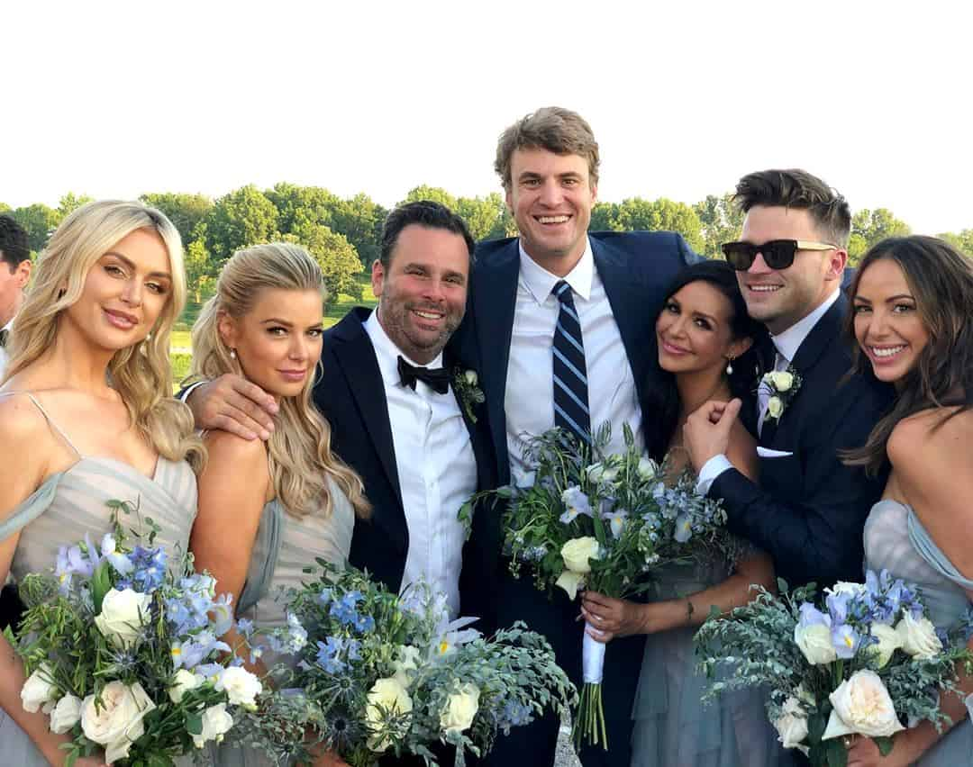 Bravo stars Lala Kent Ariana Madix Randall Emmett Shep Rose Scheana Marie Tom Schwartz and Kristen Doute at Jax and Brittany's wedding