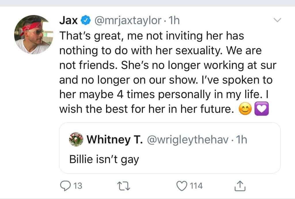 Jax Taylor claims Billie Lee is no longer on Vanderpump Rules