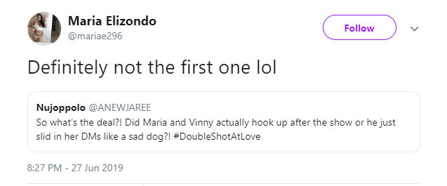 Maria hints Vinny slid in her DMs