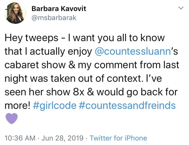 Barbara Kavovit backtracks on comment about Luann de Lesseps singing