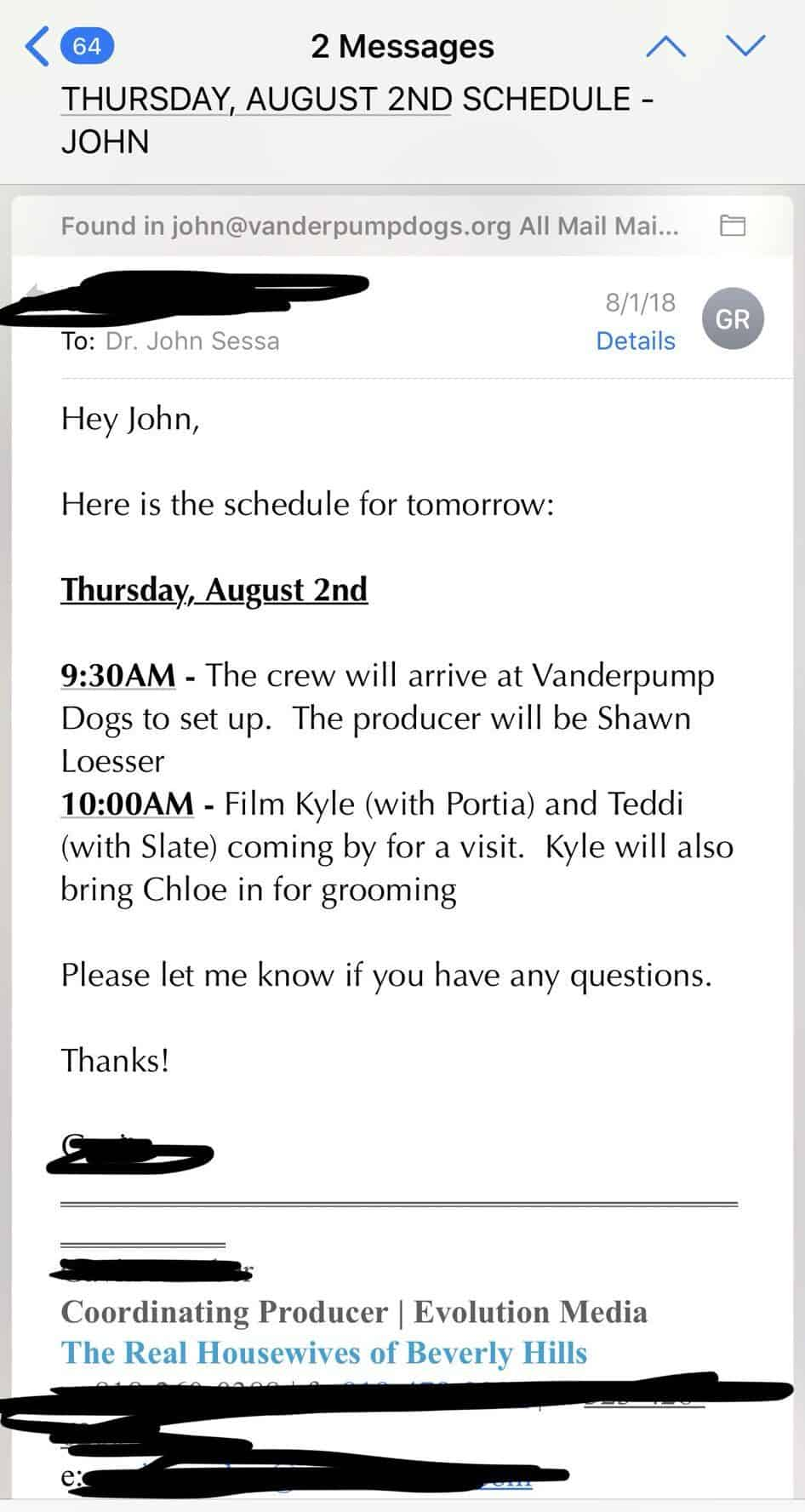 John Sessa provides proof Lisa Vanderpump did not set up scene with Kyle Richards and Teddi at Vanderpump Dogs 3