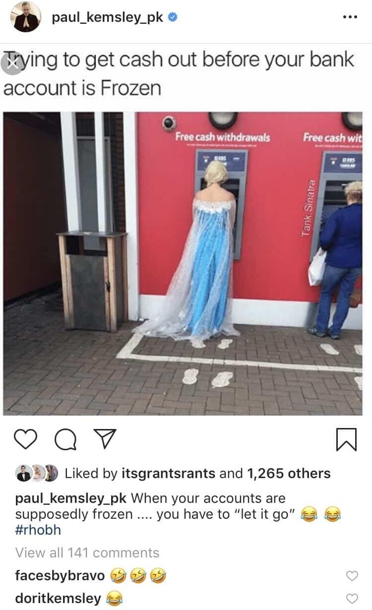 RHOBH Paul Kemsley Jokes About Frozen Bank Account