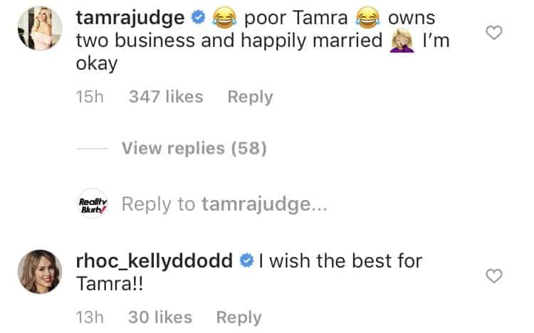 RHOC Tamra Judge responds to Kelly Dodd claim of having no storyline