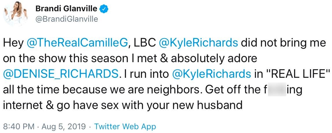 Brandi Glanvile slams Camille denies Kyle brought her onto show