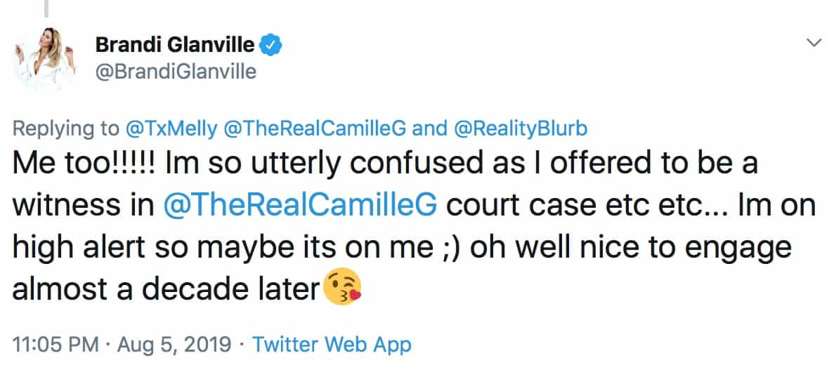 RHOBH Brandi Glanville Confused By Camille Grammer's Suggestive Tweets