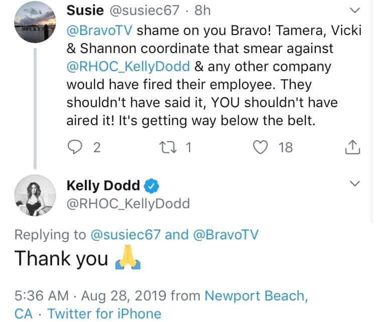 Kelly Dodd upset with Bravo for airing train rumor on RHOC