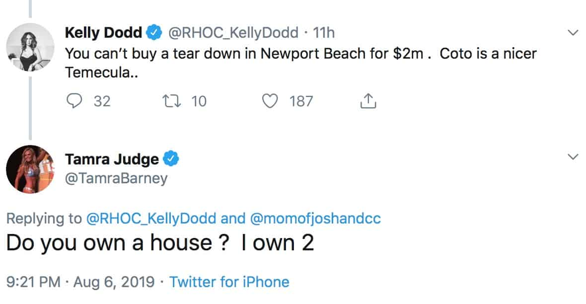 RHOC Tamra Judge Asks Kelly Dodd If She Owns a Home