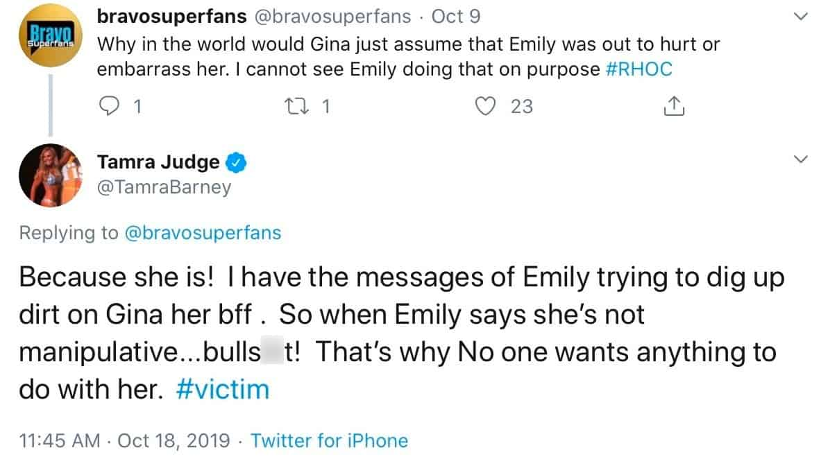 RHOC Tamra Judge Claims Emily Tried to Get Dirt on Gina