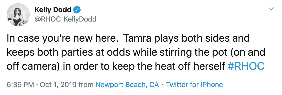 Kelly Dodd explains why Tamra Judge plays both sides