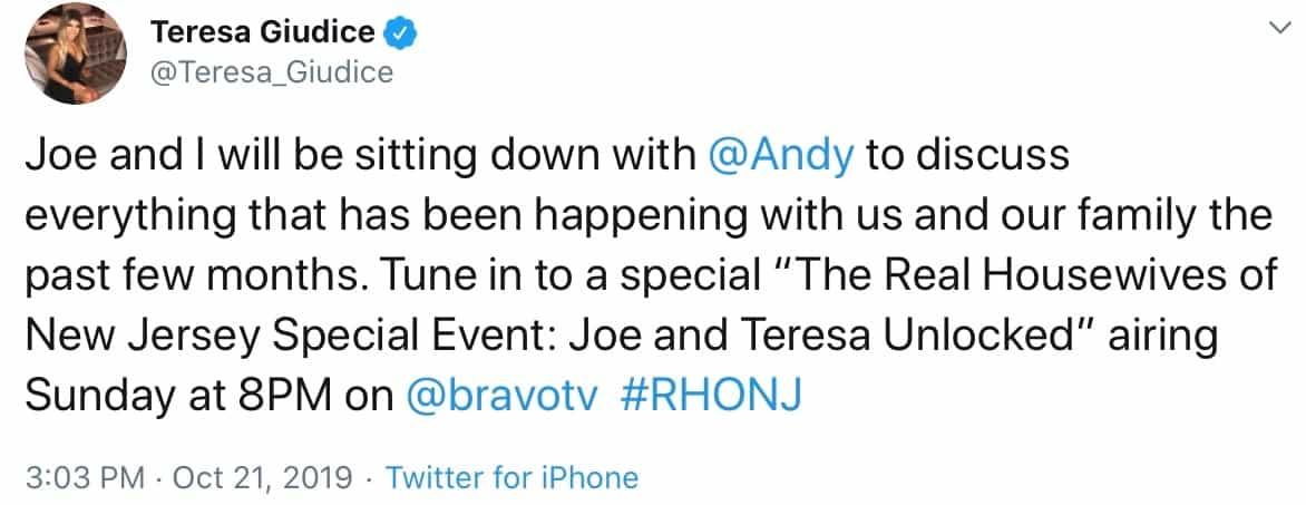Teresa Giudice announces joint TV interview with Joe Giudice