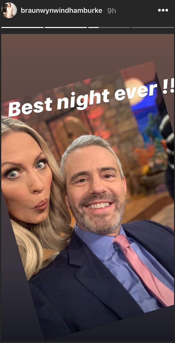 Braunwyn Windham Burke and Andy Cohen at RHOC Reunion