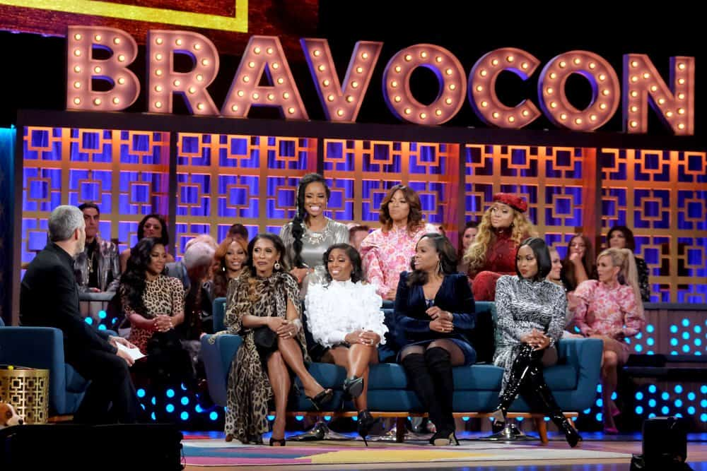 Married to Medicne Cast Andy Cohen, Dr. Jackie Walters, Dr. Contessa Metcalfe, Dr. Simone Whitmore, Toya Bush-Harris, Dr. Heavenly Kimes, Mariah Huq, Quad Webb at BravoCon WWHL