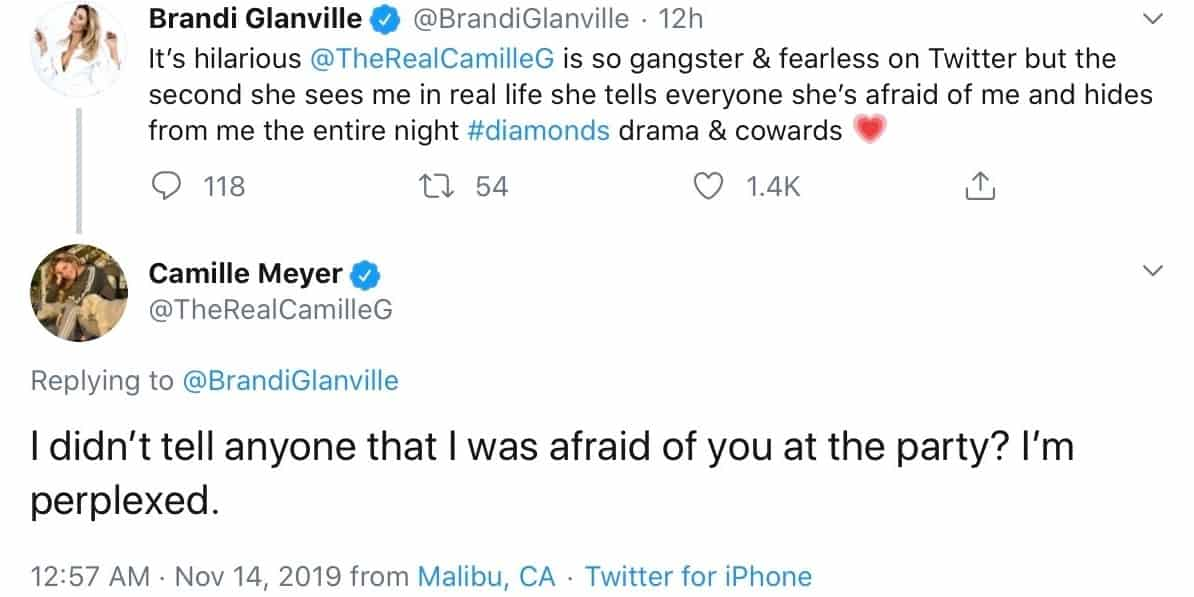 RHOBH Brandi Glanville and Camille Grammer Engage in Twitter War