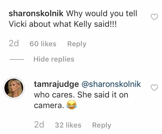 RHOC Tamra Judge Reveals Why She Told Vicki What Kelly Said