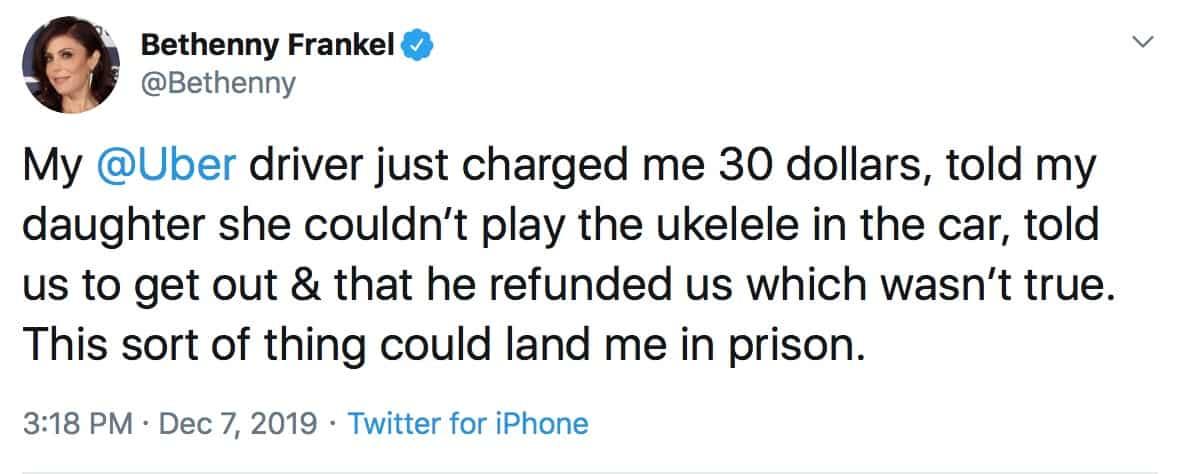 RHONY Bethenny Frankel Slams Uber Driver on Twitter