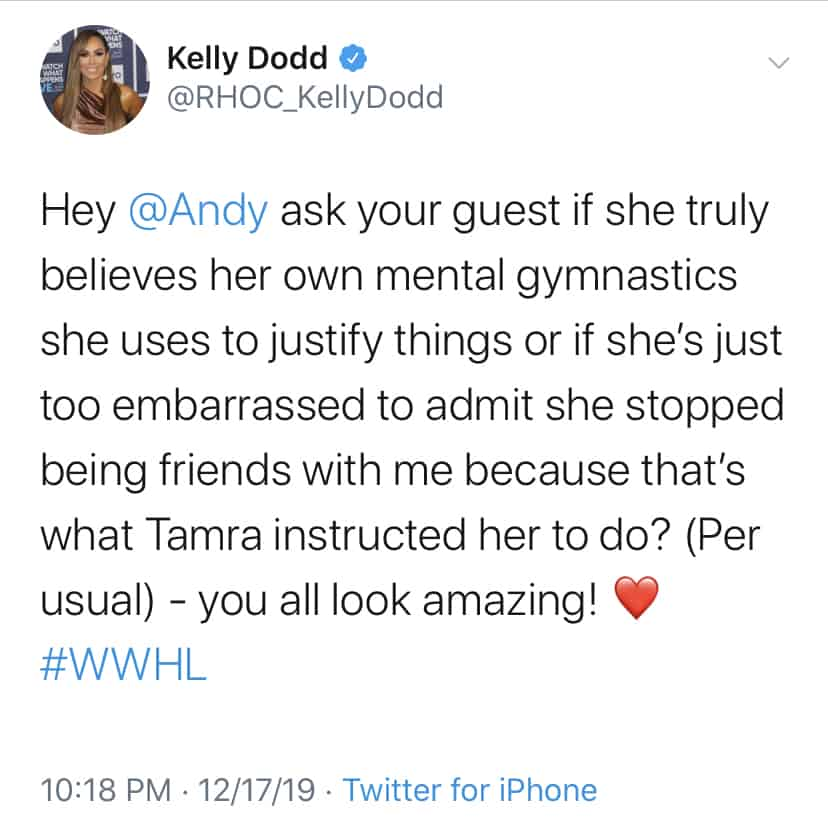 Kelly Dodd Claims Tamra Judge Won't Allow Shannon Beador to Be Her Friend