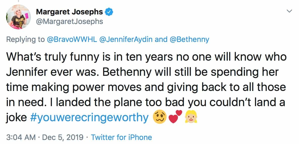 RHONJ Margaret Josephs Slams Jennifer Aydin for Bethenny Frankel WWHL Diss