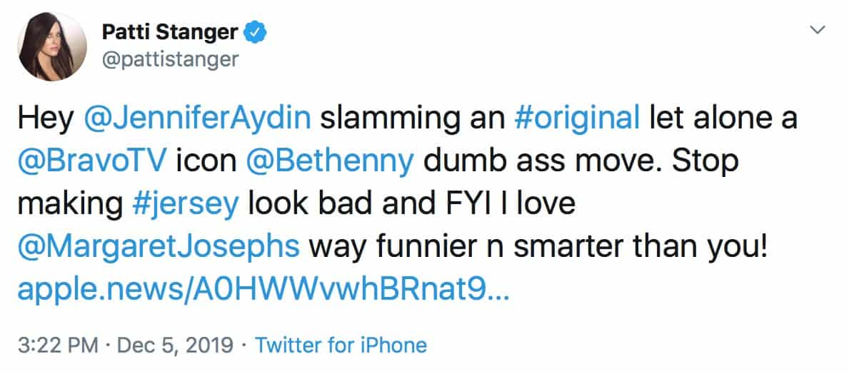 Patti Stanger Slams RHONJ Jennifer Aydin for Bethenny Frankel Diss