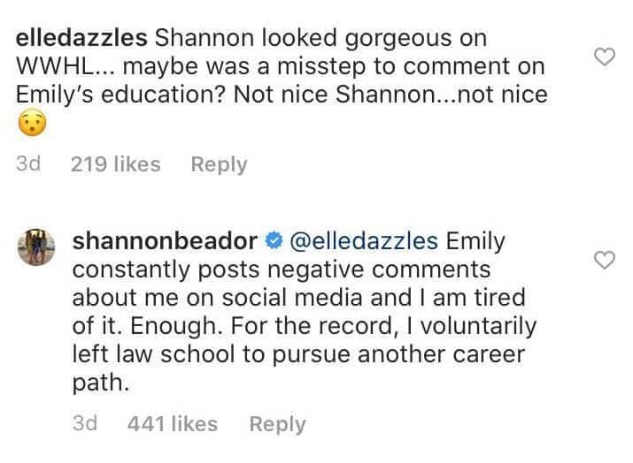 RHOC Shannon Beador Explains Comment About Emily Simpson's Law School