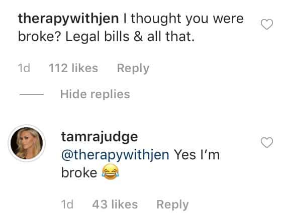 RHOC Tamra Judge Jokes That She's Broke After Buying a Range Rover
