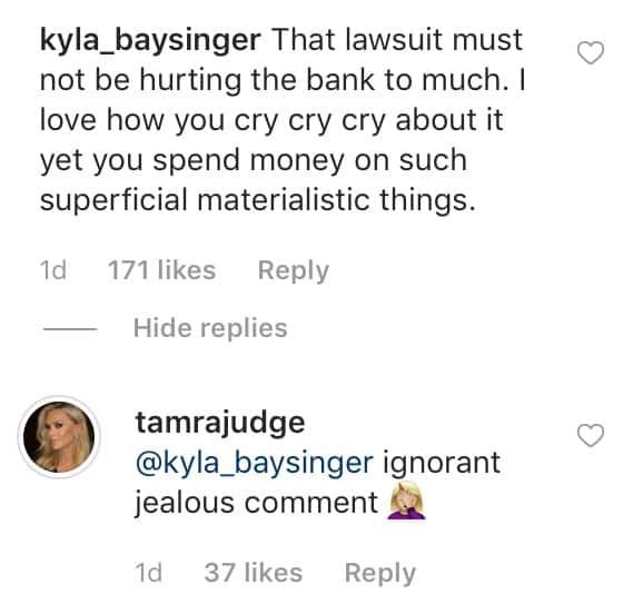 RHOC Tamra Judge Slams Ignorant Fan for Labeling Her Materialistic