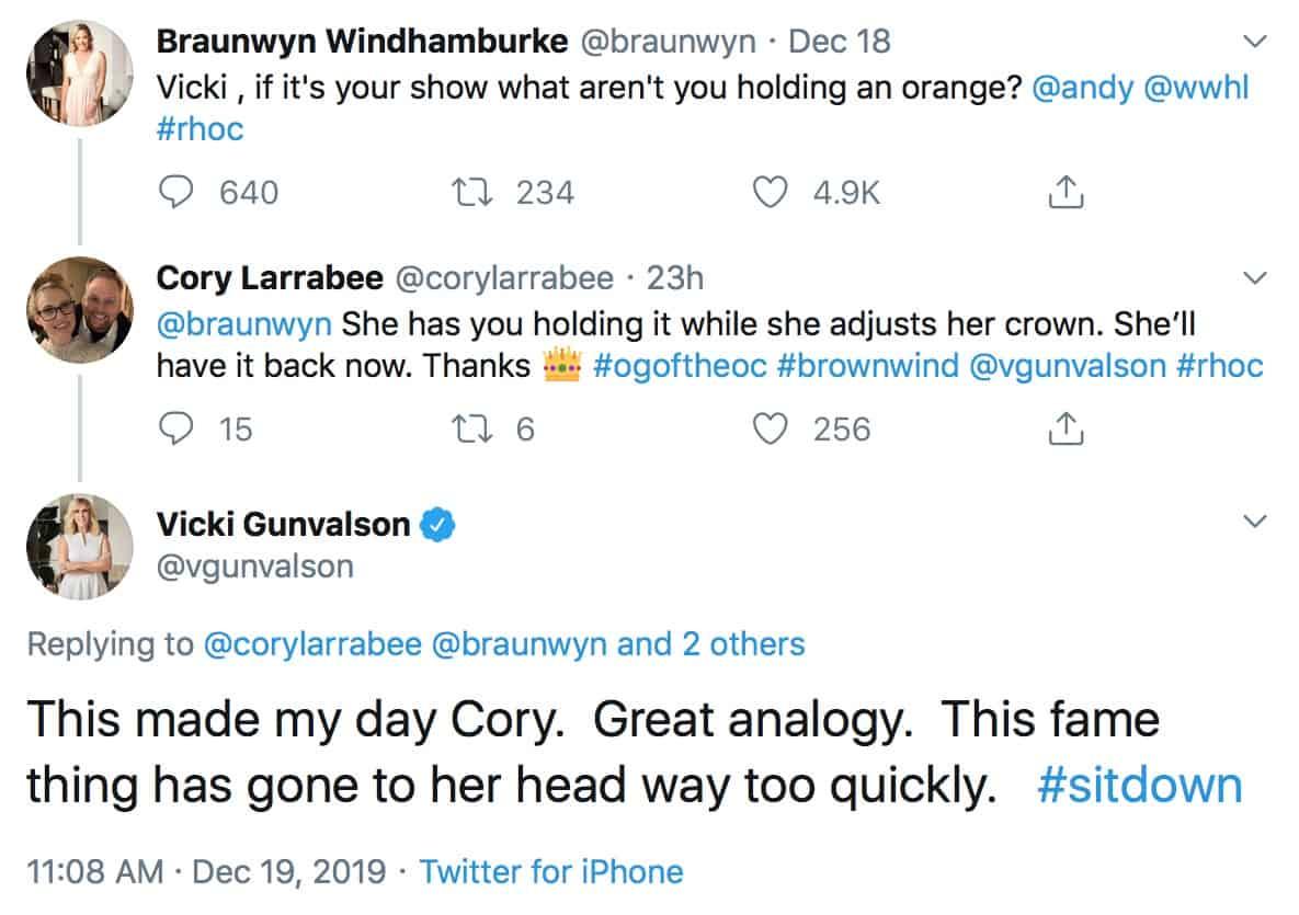 RHOC Vicki Gunvalson Responds to Braunwyn Windham Burke's Twitter Shade