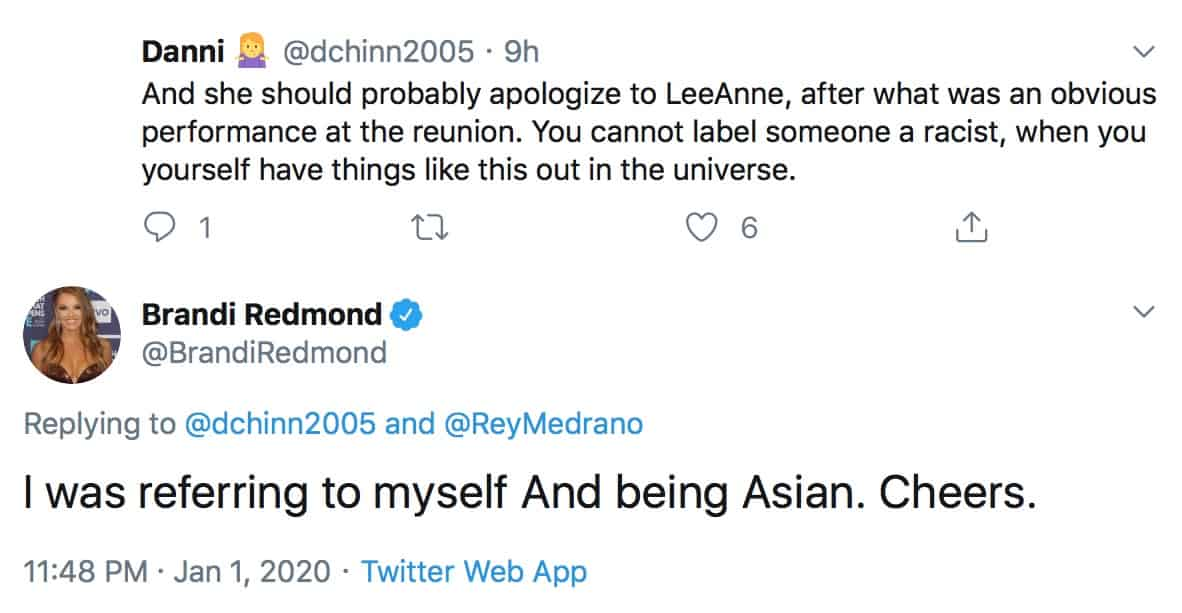 RHOD Brandi Redmond Reacts to Hypocrite Claims After Asian Video