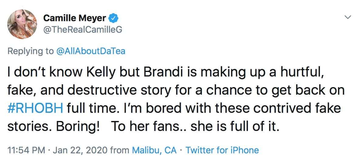 RHOBH Camille Grammer Slams Brandi Glanville For Fake Hookup Story
