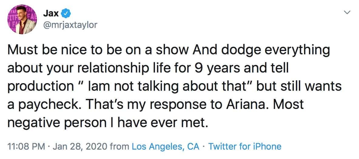 Jax Taylor Slams Ariana Madix for Keeping Relationship Off Vanderpump Rules