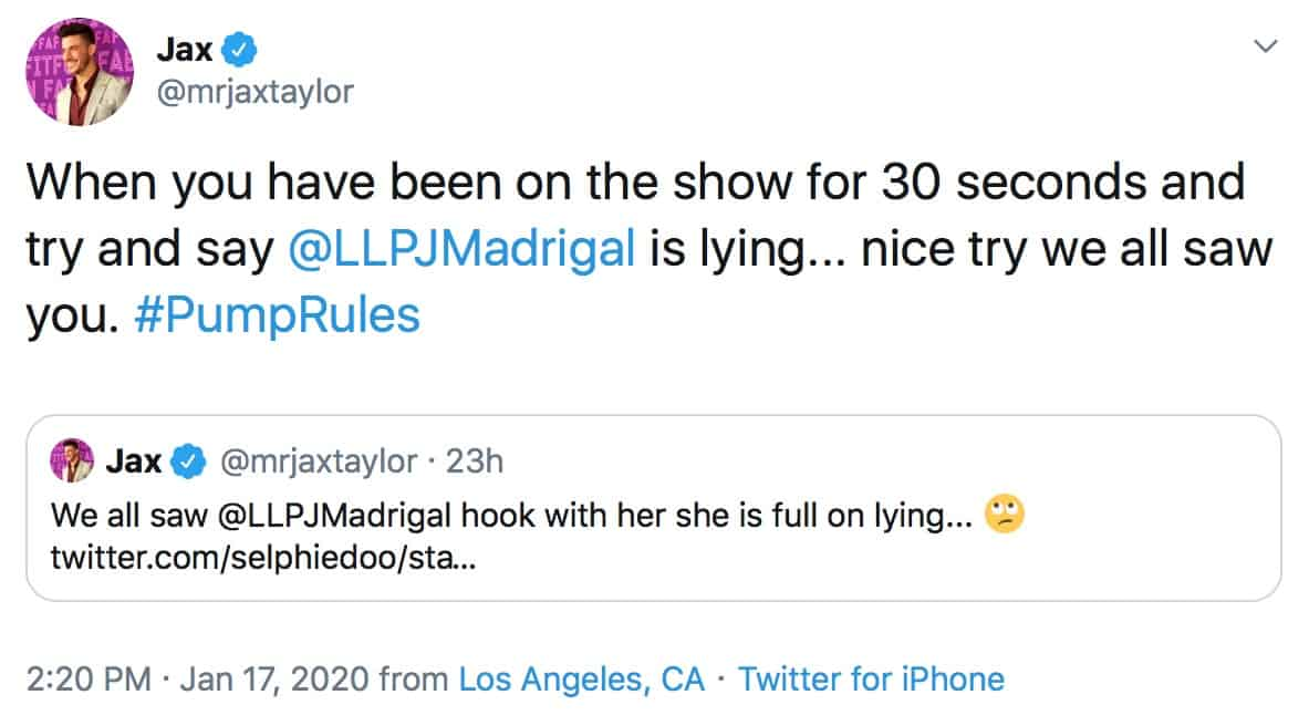 Vanderpump Rules Jax Taylor Slams Dayna Kathan for Lying About Peter Madrigal
