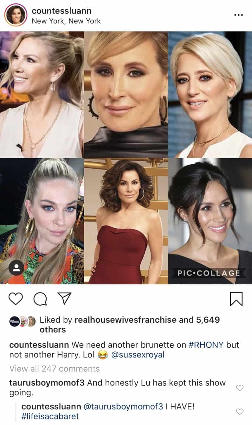 Luann De Lesseps talks about the incorporation of Meghan Markle to RHONY