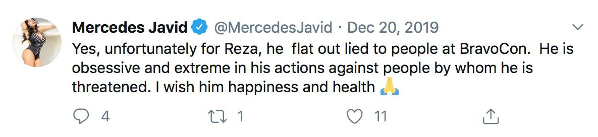 RHONJ Mercedes MJ Javid Claims Reza Farahan is Threatened By Her and Tommy Feight