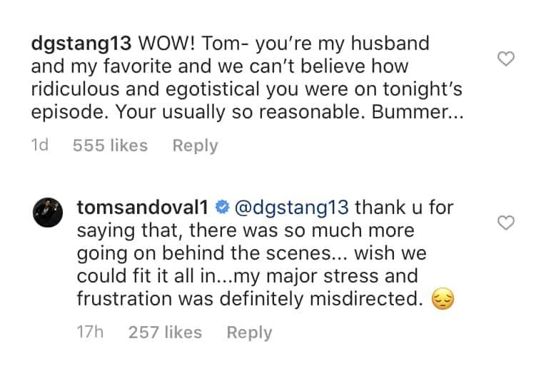 Vanderpump Rules Tom Sandoval Responds to Egotistical Behavior Towards Stassi Schroeder