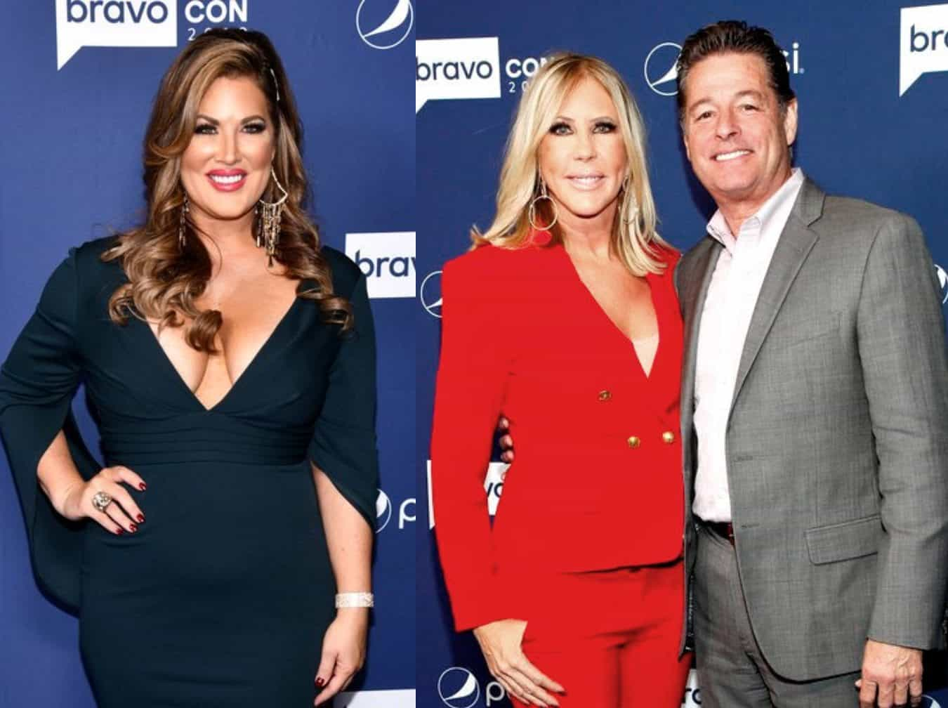 RHOC's Emily Simpson Suggests Vicki Gunvalson's Fiancé Steve Lodge is 'Mooching' as Vicki Claims She Never Lied About Kelly 'Train' Rumors and Shannon Abuse Claims