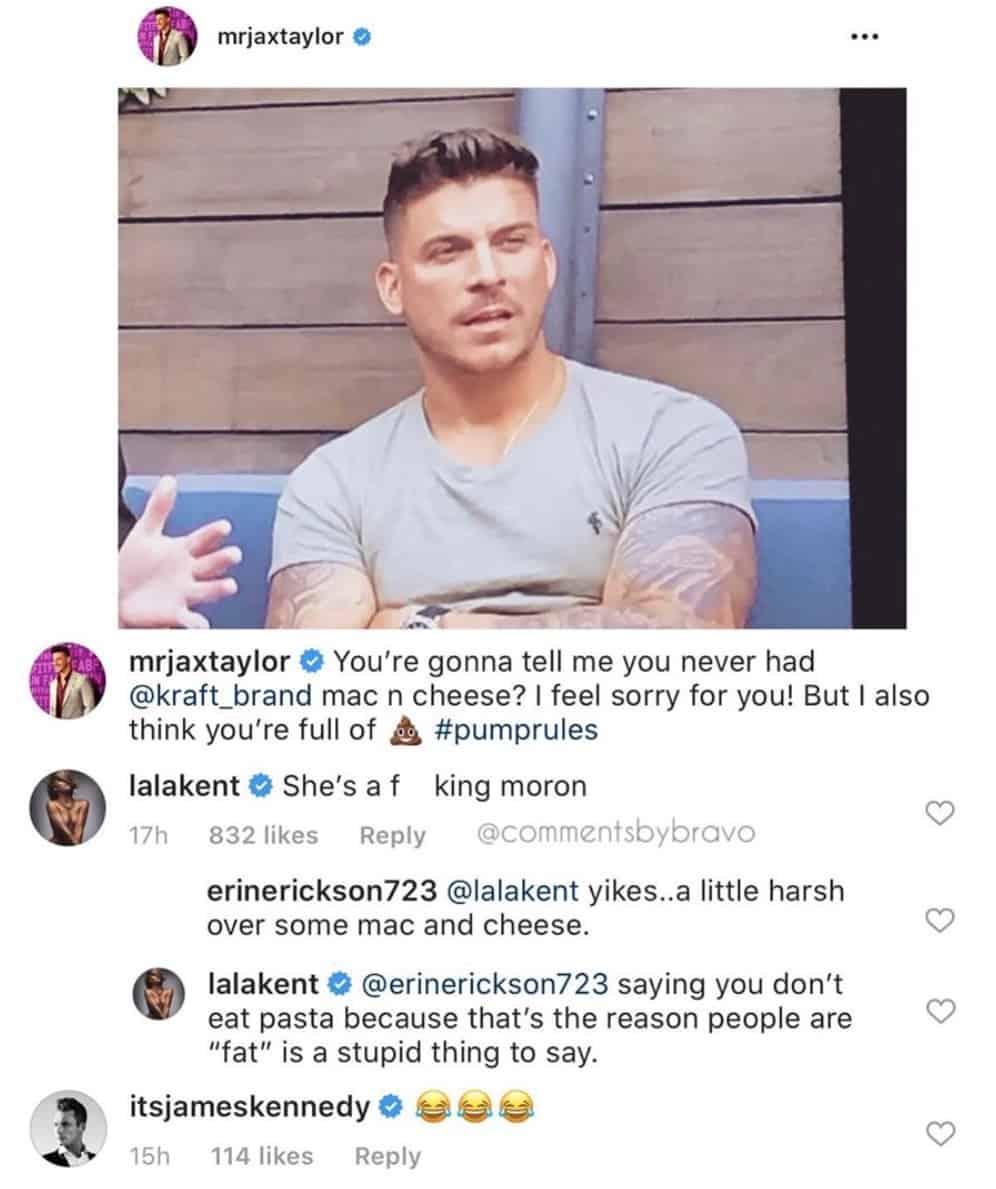 Jax Taylor and Lala Kent Slam Charli Burnett for Pasta Comment