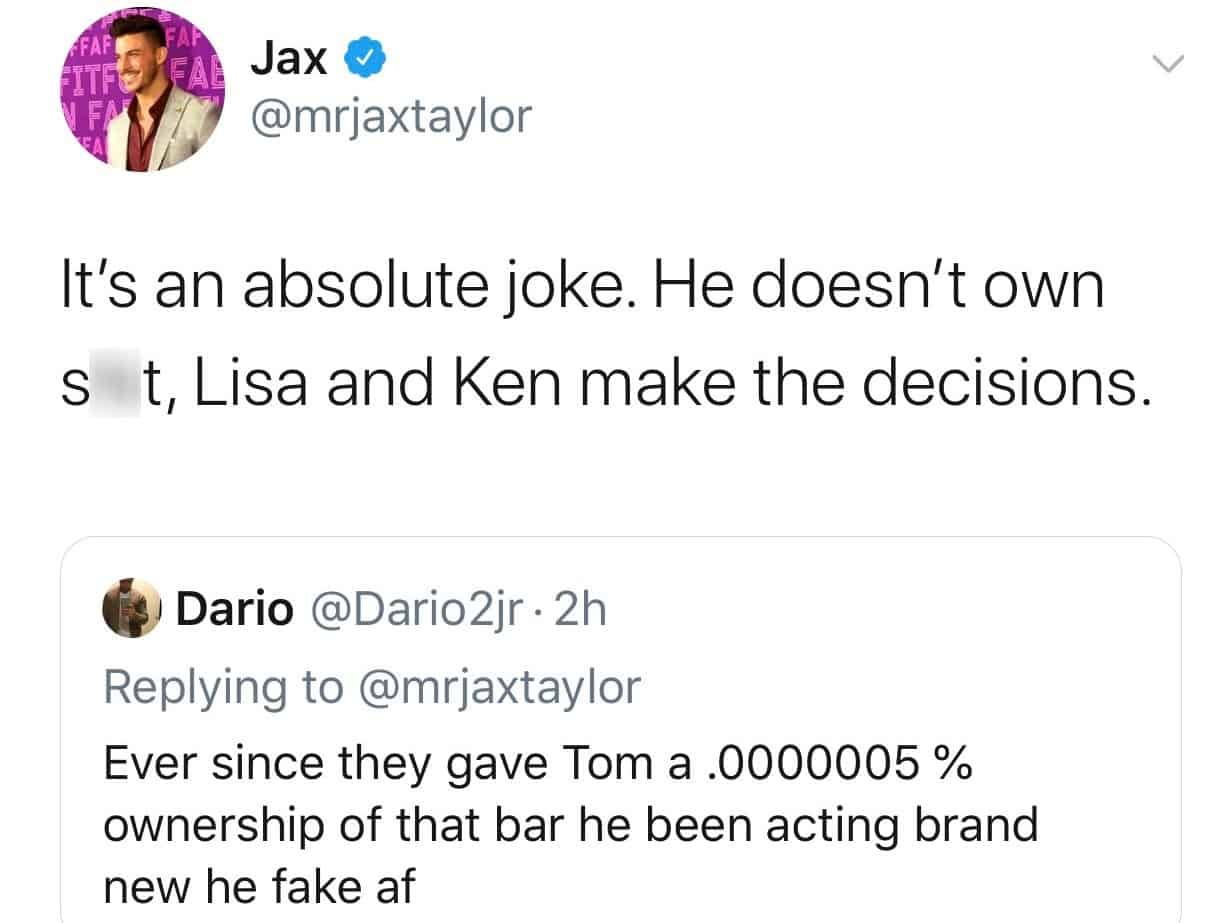 Jax Taylor claims Tom Sandoval Doesn't Own TomTom