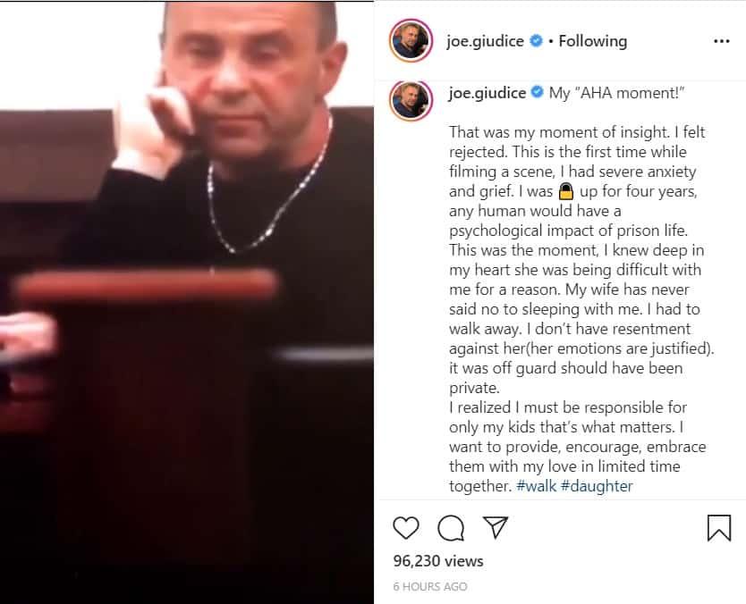 RHONJ Joe Giudice on moment he knew marriage to Teresa Giudice was over on Instagram