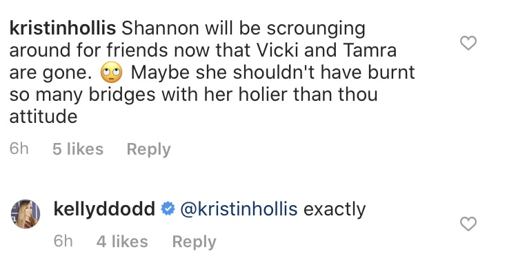RHOC Kelly Dodd Says Shannon Beador Is Friendless Without Tres Amigas