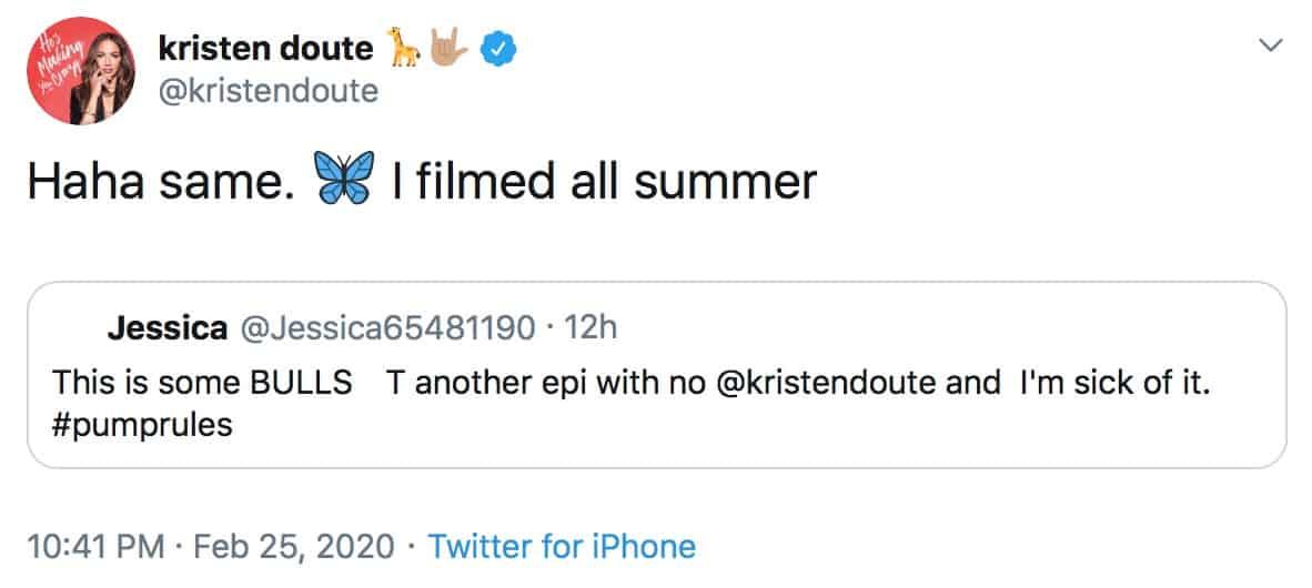 Kristen Doute Reveals She Filmed Vanderpump Rules All Summer