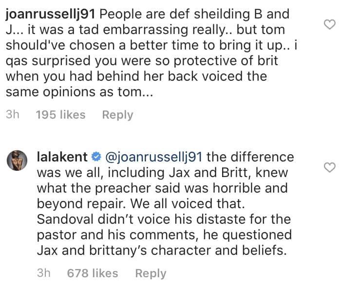 Vanderpump Rules Lala Kent Slams Tom Sandoval for Questioning Jax Taylor and Brittany's Character and Beliefs