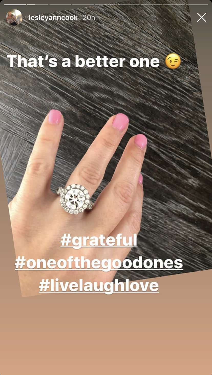 RHOC Lesley Cook Shares Close Look at Engagement Ring