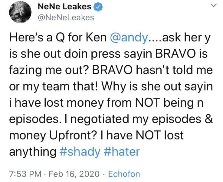 Nene Leakes Slams Shady Kenya Moore for Claims She's Being Phased Out of RHOA