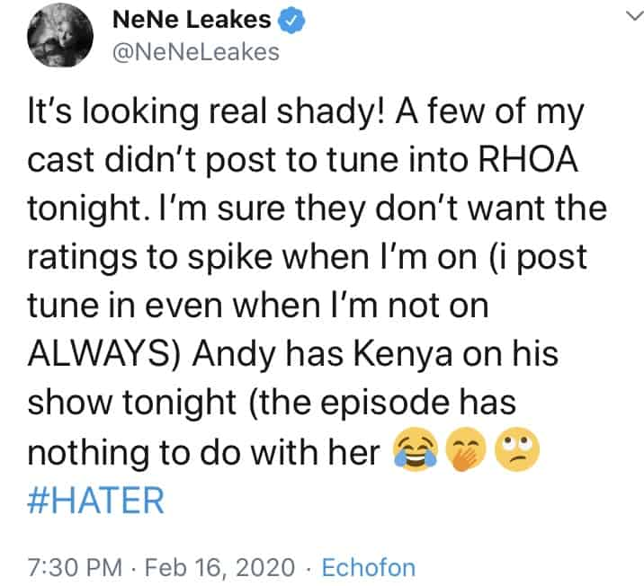 Nene Leakes Suggests RHOA Cast is Attempting to Sabotage Ratings on Her Episodes