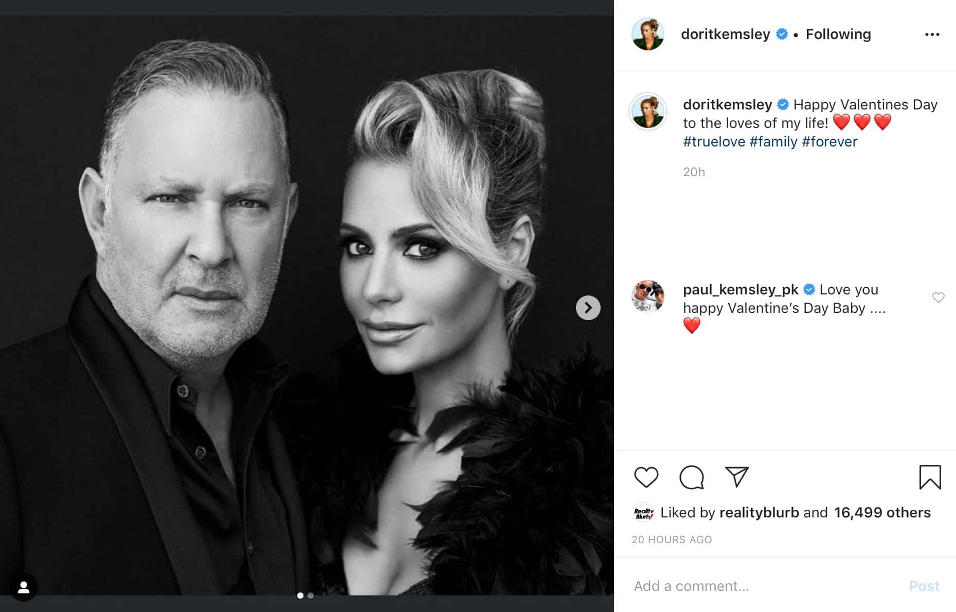 Paul PK Kemsley Responds to Dorit Kemsley's Valentine's Day Tribute