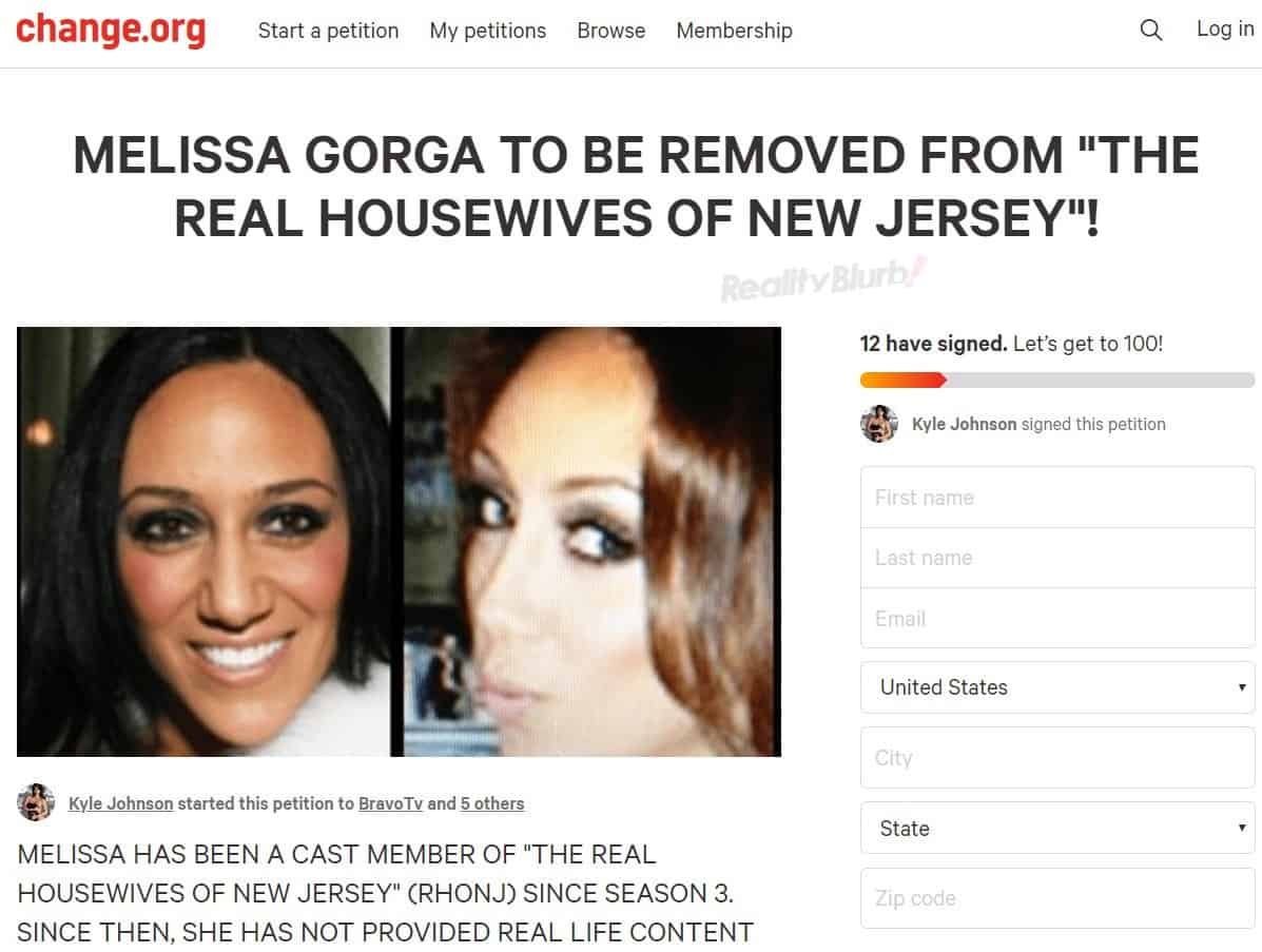 Petition to Have Melissa Gorga Fired From RHONJ