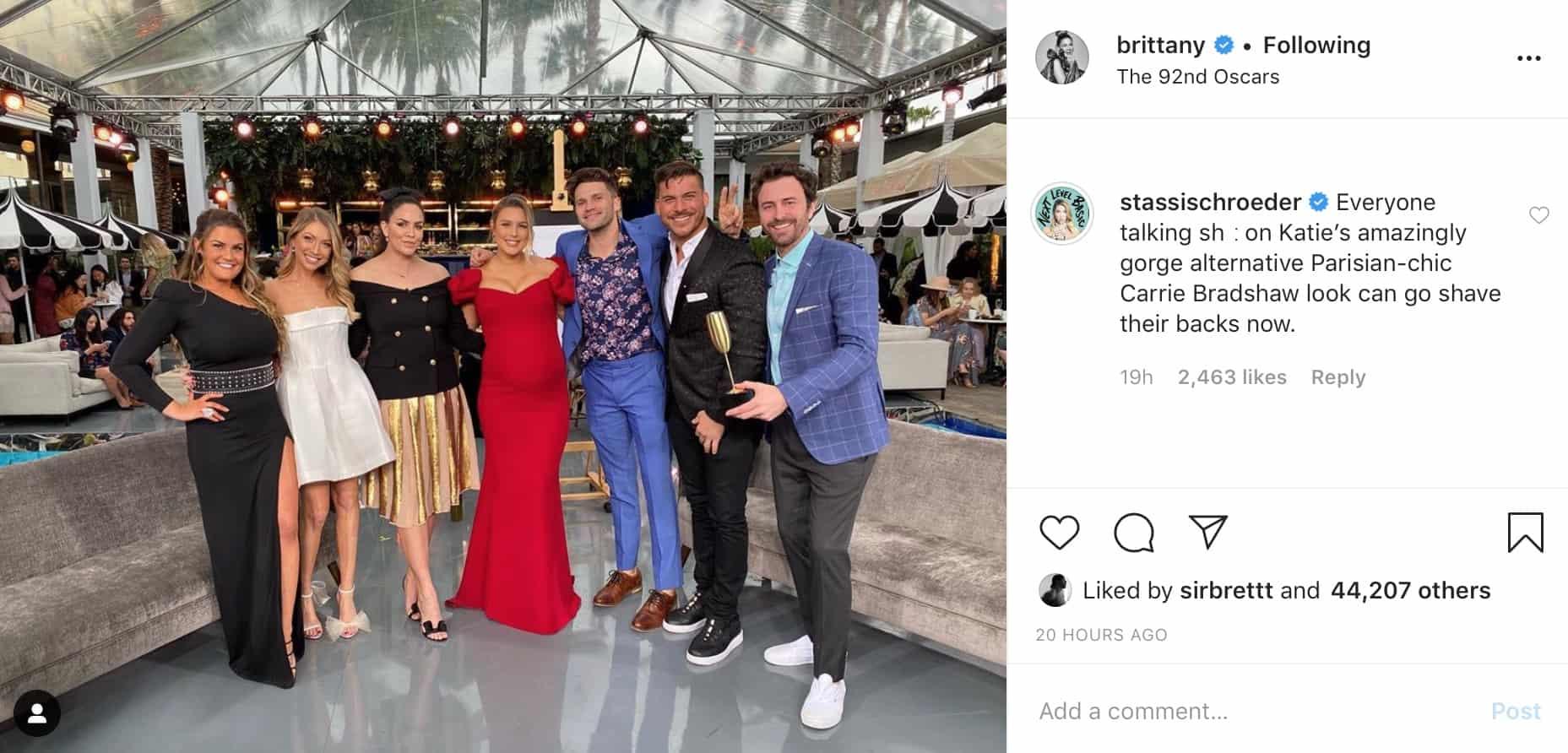 Vanderpump Rules Stassi Schroeder Defends Katie Maloney's Oscars Dress