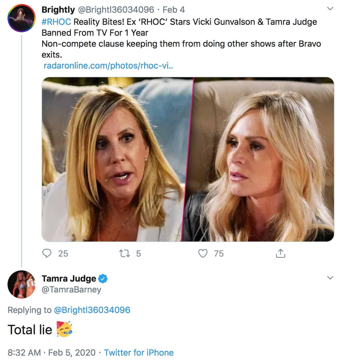 RHOC Tamra Judge Confirms She is Not Banned From Returning to TV