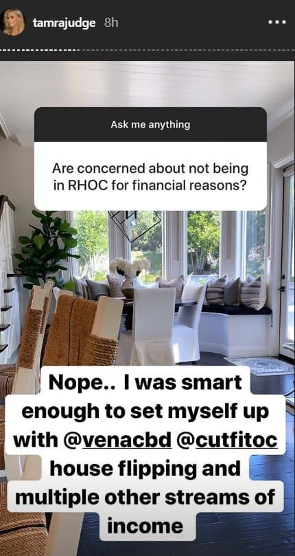 RHOC Tamra Judge Says She's Set Financially